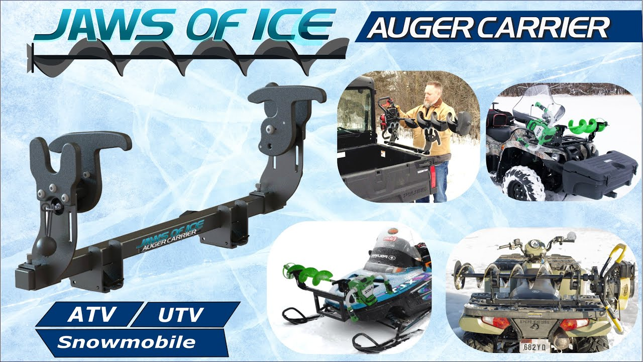 Jaws Of Ice Auger Carrier Universal Ice Auger Rack For Atv Utv Snowmobiles More