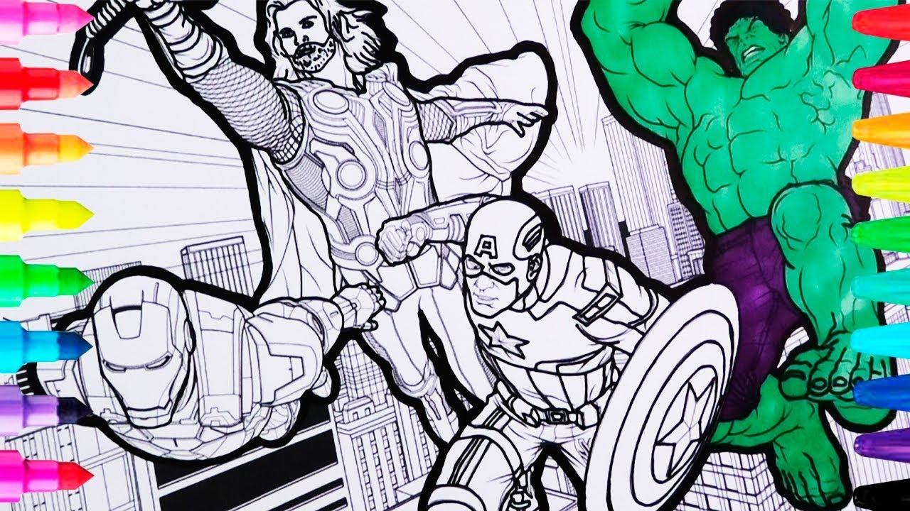 Coloreando Hojas De Los Avengers Dibujos Para Ninos Hulk