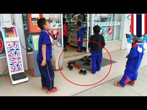 Saking sopannya, sejumlah murid SD lepas sepatu saat masuk 7-Eleven- TomoNews