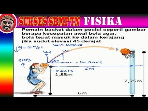 kecepatan bola agar masuk keranjang, gerak parabola,fisika sma drill sbmptn