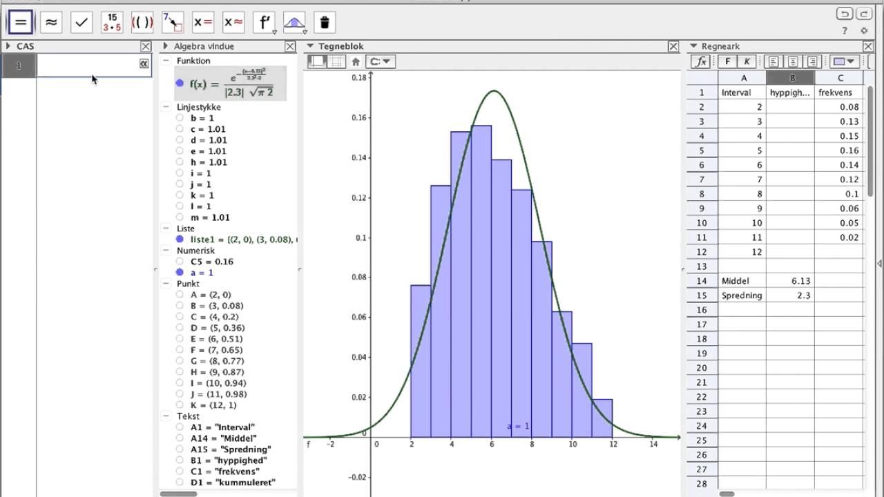 Frekvensfunktion og fordelingsfunktion i Geogebra (Den nemmere måde)