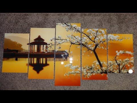 Модульная картина на стекле - цветущая сакура на закате - изготовление в Днепре TM Pavlin Art