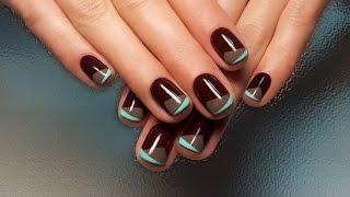 Дизайн ногтей гель-лак shellac - Необычный френч (видео уроки дизайна ногтей)
