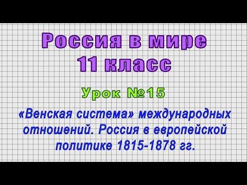 Россия в мире 11 класс (Урок№15 - «Венская система» международных отношений. Россия в 1815-1878 гг.)