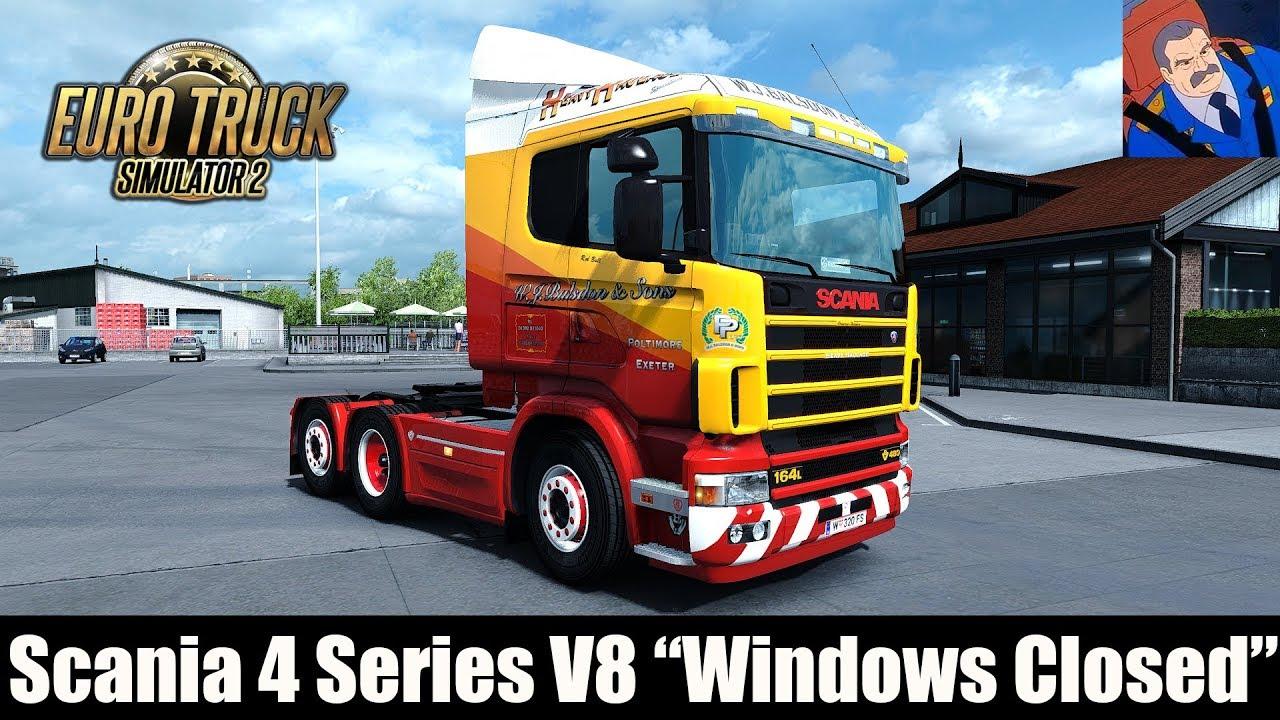 Scania 4 series v8 windows closed sound mod ets 2 mods
