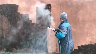 Exterior steam cleaning farm buildings