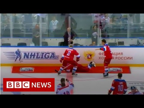 Russia's President Putin falls on ice after hockey match - BBC News