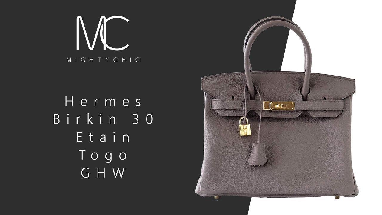 0c627a39bac7 MIGHTYCHIC • Hermes 30 Birkin Etain Togo GHW - YouTube