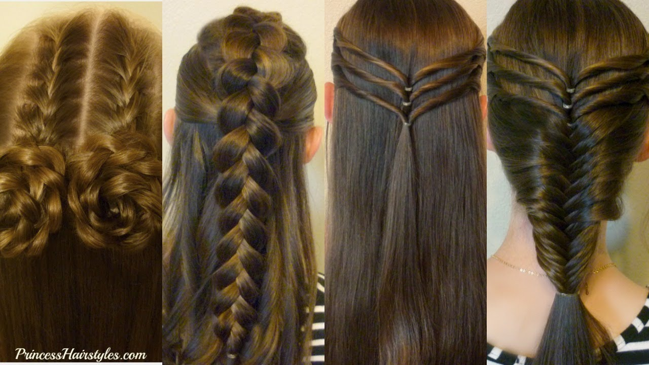 Cute Hair Styles With Braids: 4 Easy Hairstyles For School, Cute And Heatless, Part 3