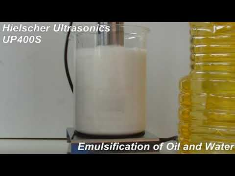 emulsification of oil To make an emulsion you need an emulsifier and force such as whisking and  beating to break the oil droplets apart so they mix with the watery liquid there  are.