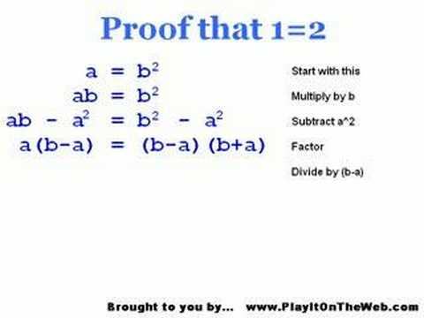 1 2 proof prove all math wrong stump your math teacher youtube