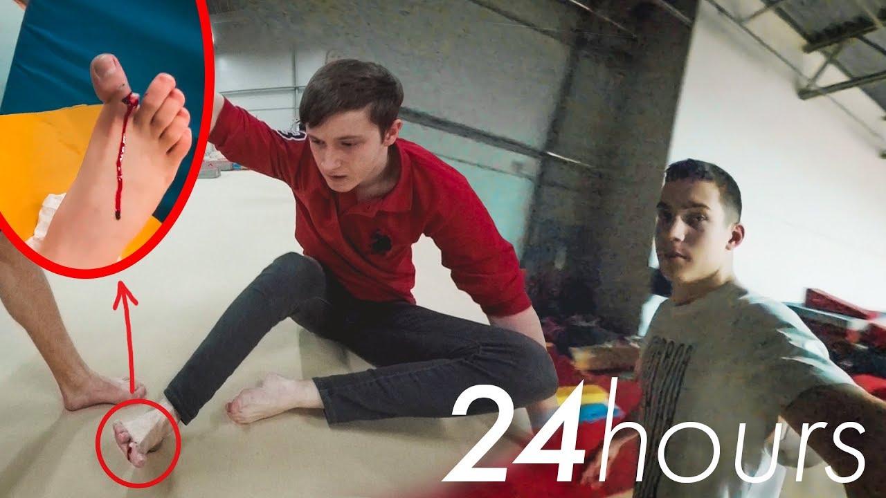 24 часа в ГИМНАСТИЧЕСКОМ ЗАЛЕ | 18+ Открытый ПЕРЕЛОМ пальца!! 24 HOURS IN THE GYM