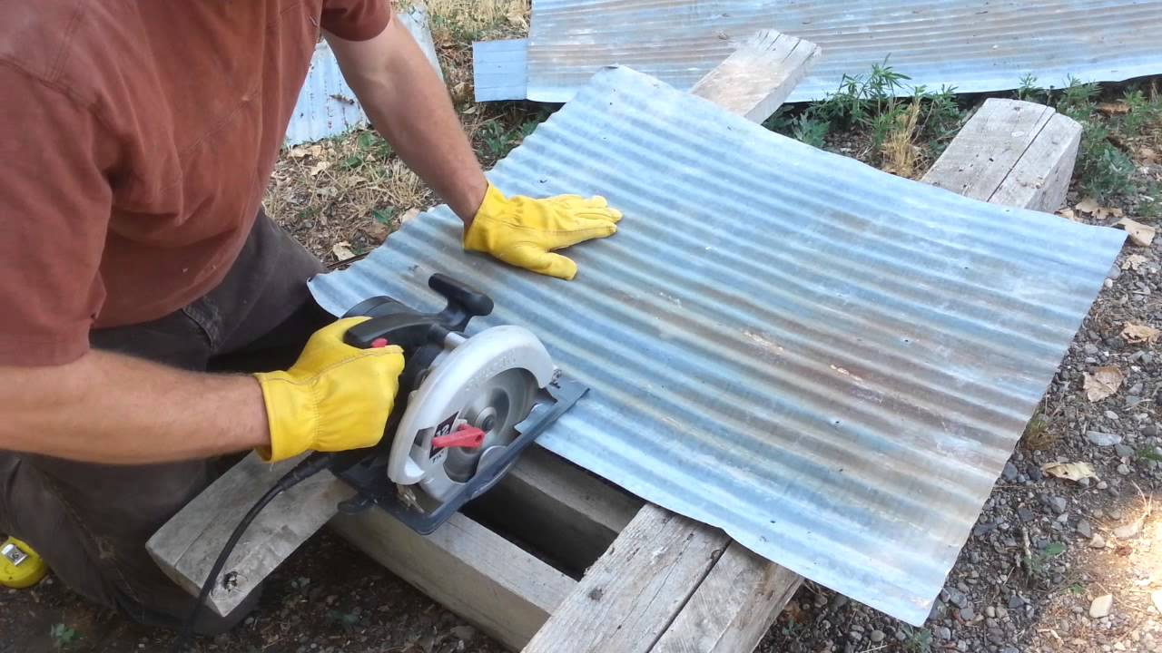 Cutting Metal Roofing With Circular Saw Youtube