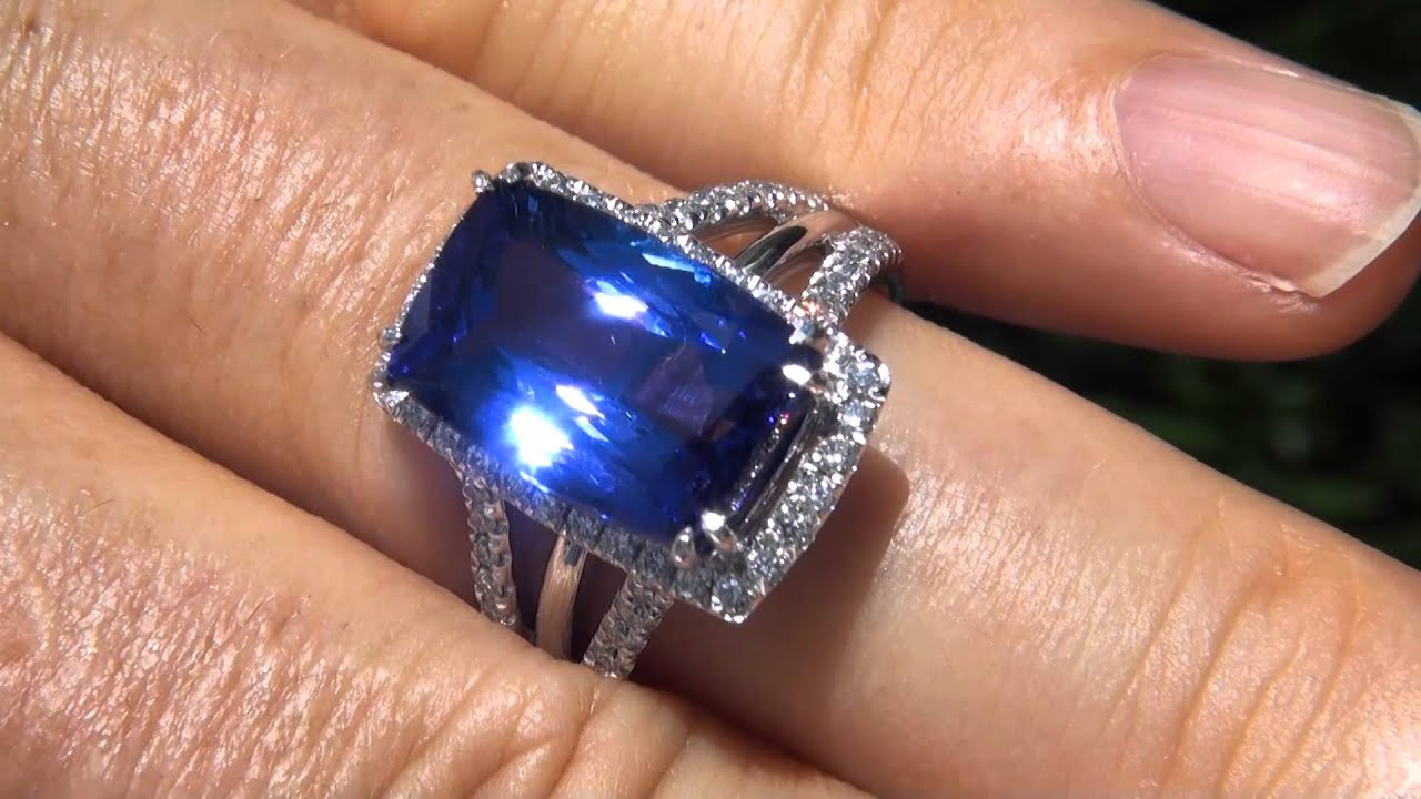 investment engagement grade certified halo tanzanite gold double ring gia diamond white