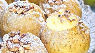 Яблоки, запеченные в духовке, 2 вкусных рецепта - с творогом & с орехами и изюмом!