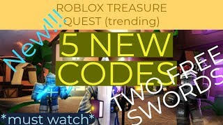 *Must Watch* FIVE NEW CODES + TWO FREE SWORDS II Roblox Treasure Quest