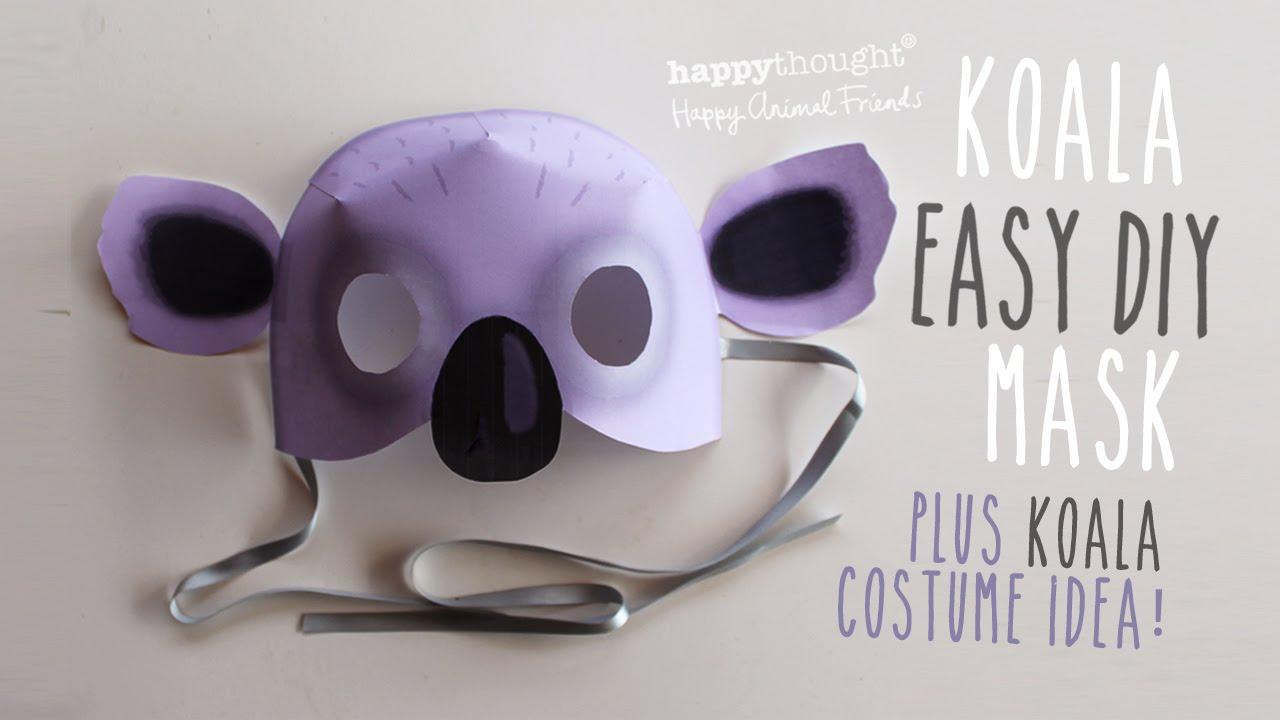 printable koala mask template easy costume idea youtube