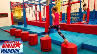 NINJA WARRIOR KIDS COURSE Addie Mae Plays On The Obstacle Course