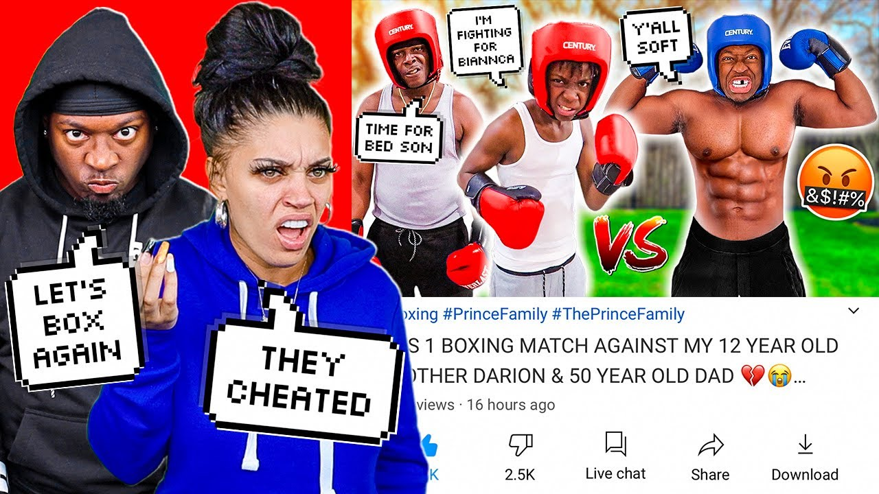 REACTING TO 1 VS 1 BOXING MATCH AGAINST MY 12 YEAR OLD BROTHER DARION & 50 YEAR OLD DAD 💔😭
