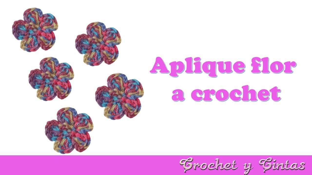 Aplique flor 5 pétalos tejida a crochet (ganchillo) - YouTube