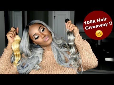 100k Hair Giveaway !!! 4 winners !! Blonde hair  Gray Hair  Frontals