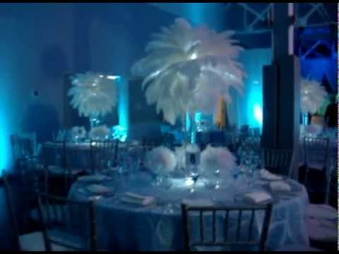 Winter Wonderland Themed White Ostrich feathers with mini