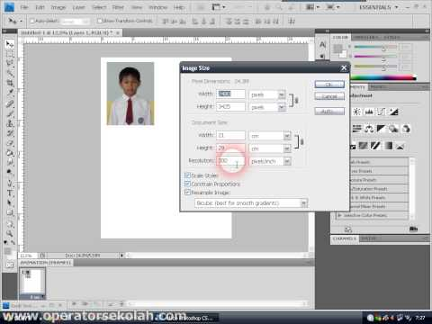 Cara membuat ukuran pas photo 3x4 dengan Adobe Photoshop