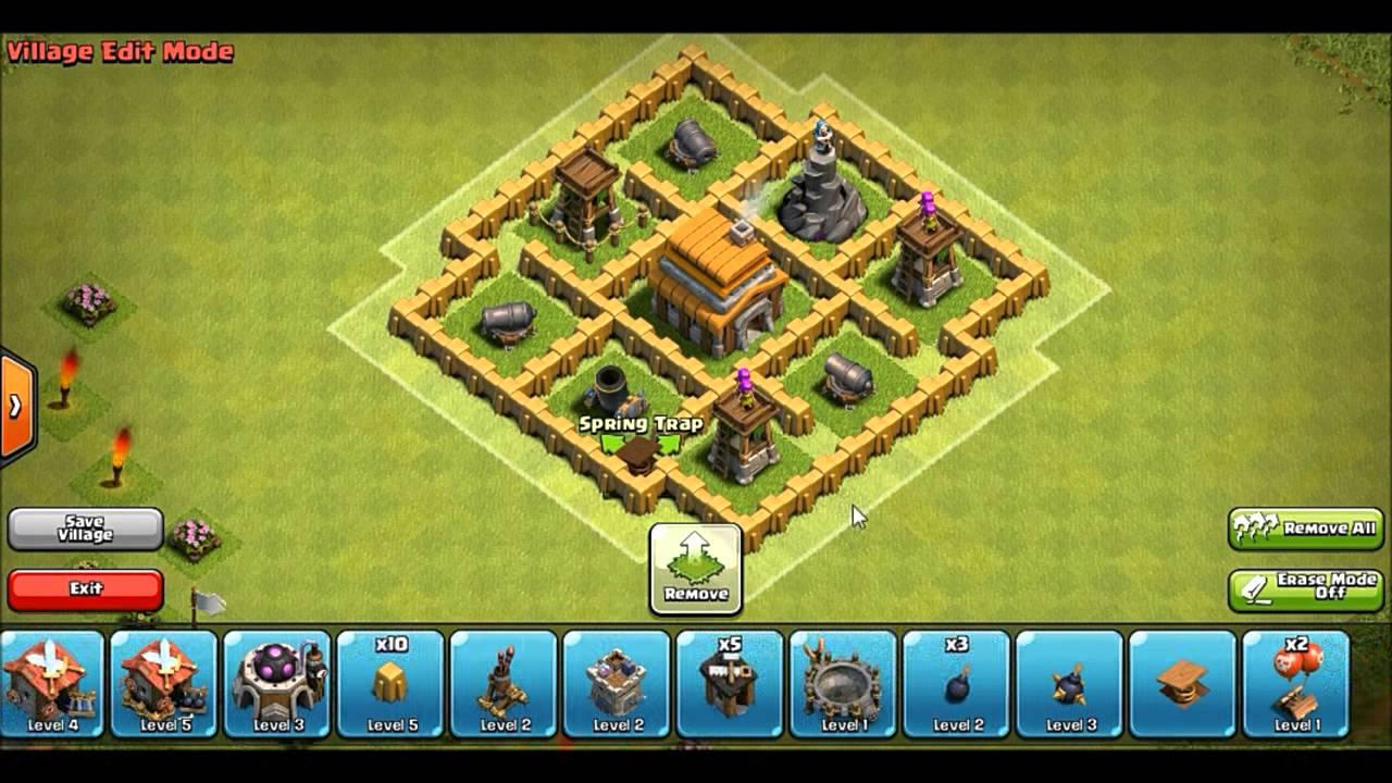 Best clash of clans th5 trophy base clan war base giant killer anti