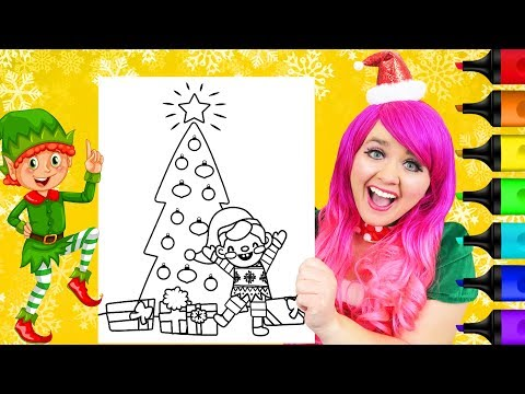 coloring-a-cute-elf-&-christmas-tree-coloring-page-prismacolor-markers-|-kimmi-the-clown