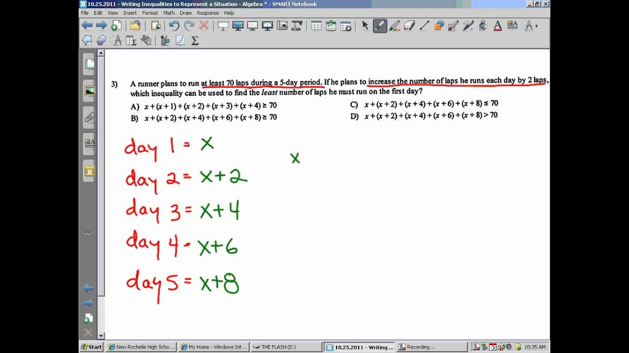 write an inequality for each situation worksheet