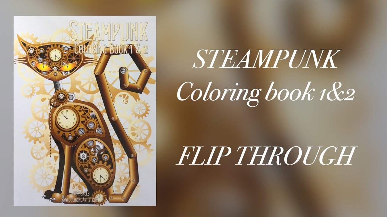 steampunk coloring book 12 flip through