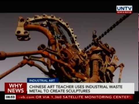 Chinese art teacher uses industrial waste metal to create sculptures