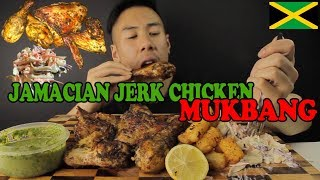 MUKBANG JAMACIAN JERK CHICKEN-SUPER JUICY-TATER TOTS AND COLESLAW-BIG BITES!