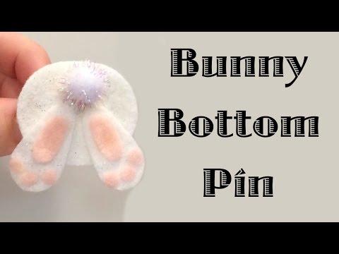 Felt Bunny Bottom Pin