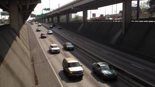 Tom Jaeschke views the Interstate 35 traffic in Austin, Texas