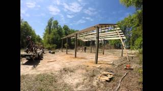 Timelapse Installing A 20x30x12 Open Pole Barn Kit With Steel Trusses Fimed With Gopro