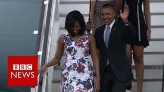 Cuba: President Obama arrives for historic visit - BBC News