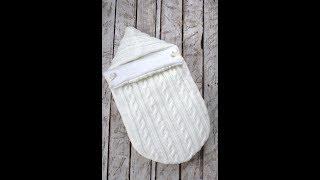 Вязанный конверт-кокон, молочный на трикотаже