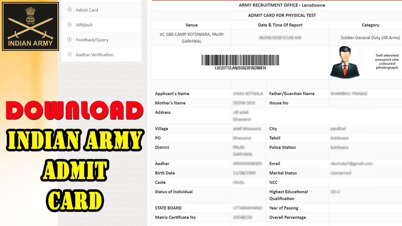How to Download Indian Army Admit Card 2018 ...