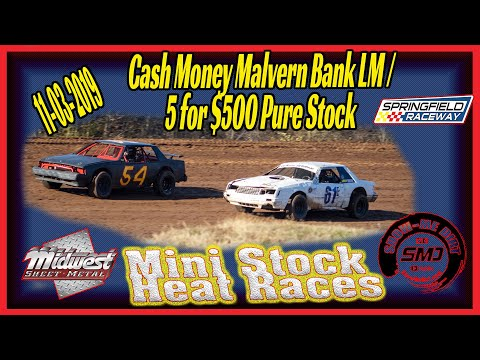 Min Pure Stock Heat Races Springfield Raceway 11➜03➜2019  Dirt Track Racing