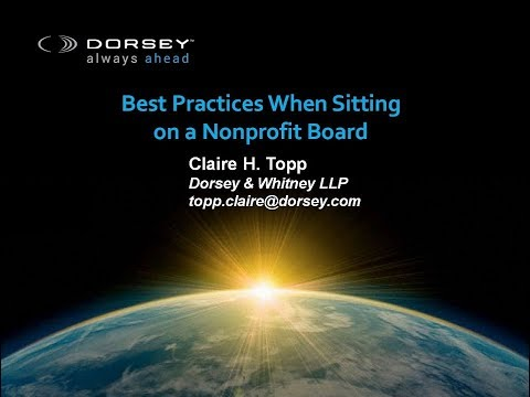 Seminar Playback: Best Practices When Sitting on a Non-Profit Board