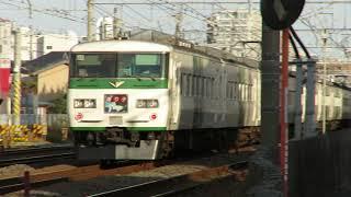 東海道本線・特急踊り子号が伍仁原踏切付近通過(JR Tokaido main Line)