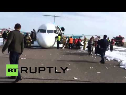 Kazakhstan: Pilot makes emergency landing without front landing gear