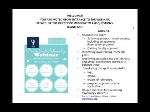 Predoctoral Internship Webinar: Application and Selection of Sites (5-11-16)
