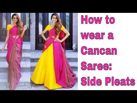 How to wear a Cancan Saree: Side Pleats | Tia Bhuva