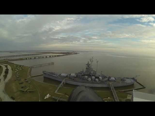 USS ALABAMA, BATTLESHIP MEMORIAL PARK, (Unmanned Aerial Video Footage). Travel Video