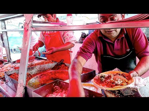 "Mexican STREET FOOD - Incredible ""MYSTERY SALSA"" - My HABANERO Experience - Street TACOS"