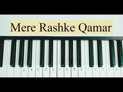 Mere Rashke Qamar Piano Keyboard Tutorial (Notes in Hindi)