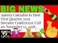 Aurora Cannabis (ACB) to Host First Quarter 2019 Investor Conference Call on November 12, 2018