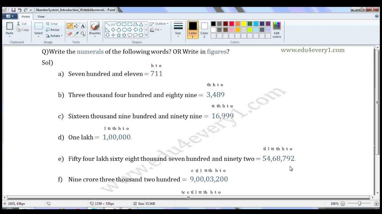 write in figures in hindu-arabic system of numbers - YouTube